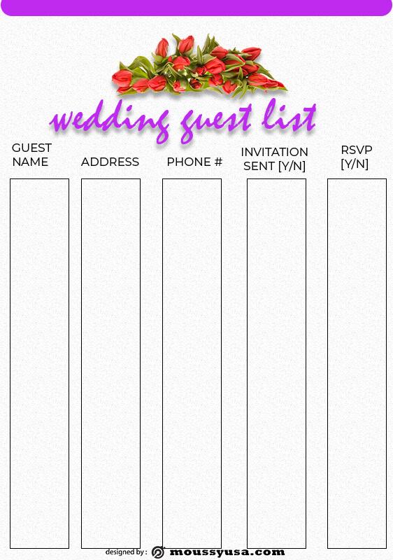 wedding guest list example psd design