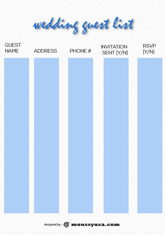 wedding guest list free psd template