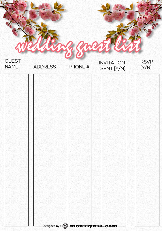 wedding guest list template free psd