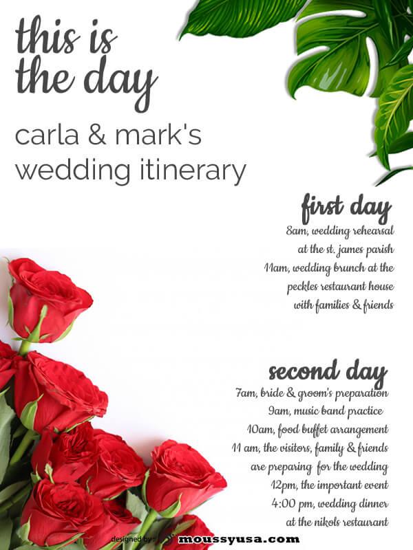 wedding itinerary customizable psd design template
