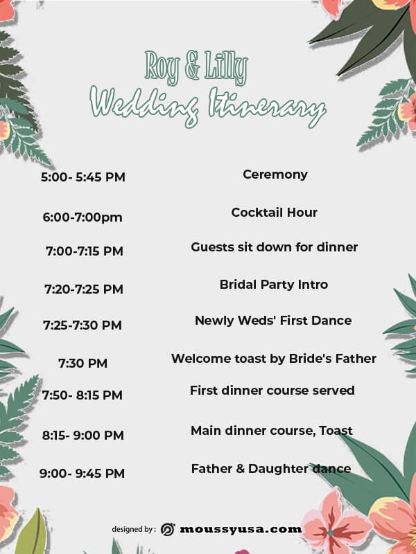 wedding itinerary example psd design