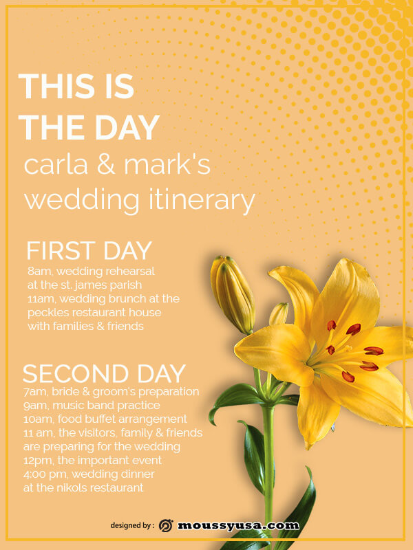 wedding itinerary free download psd