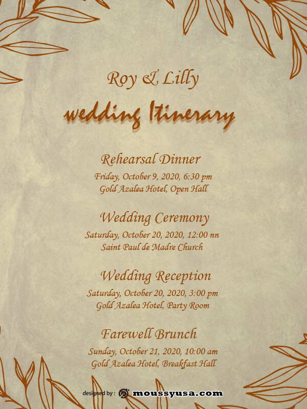 wedding itinerary free psd template