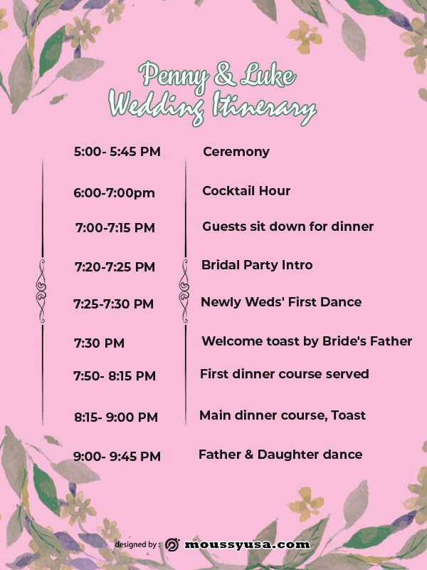wedding itinerary in photoshop free download