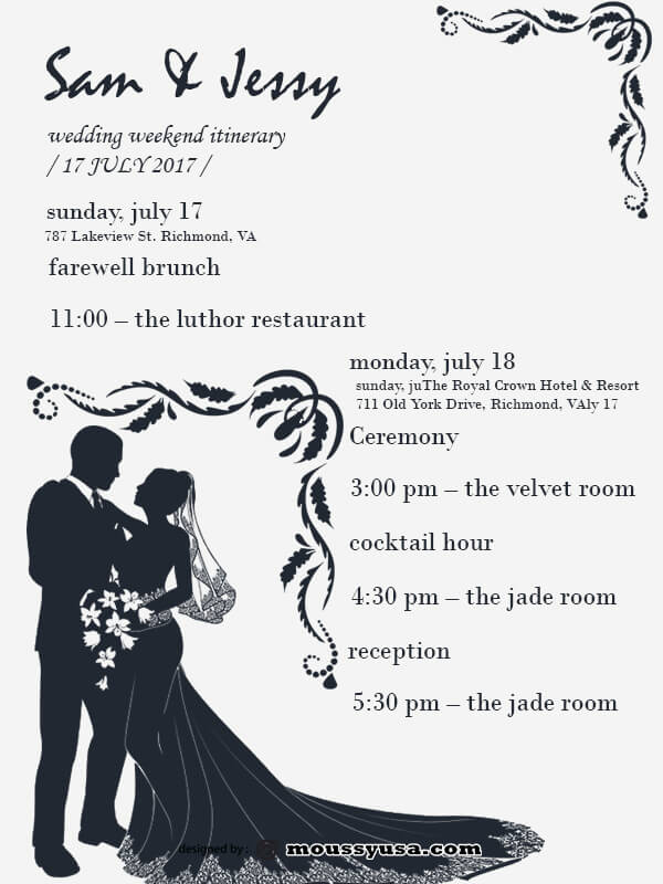 wedding itinerary in photoshop