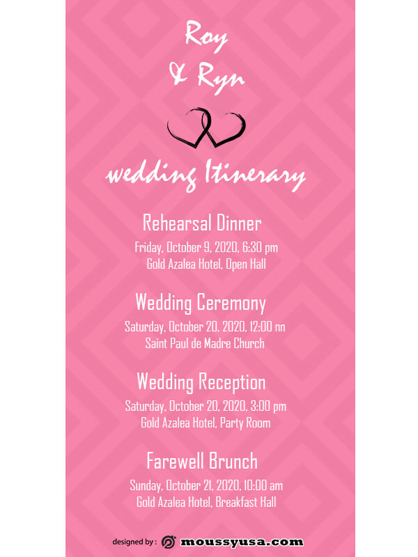 wedding itinerary in psd design