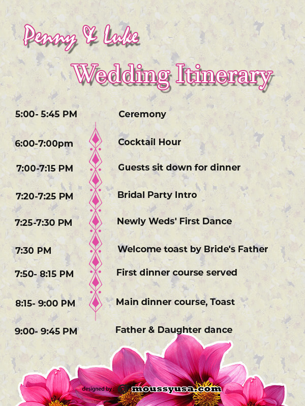wedding itinerary psd template free