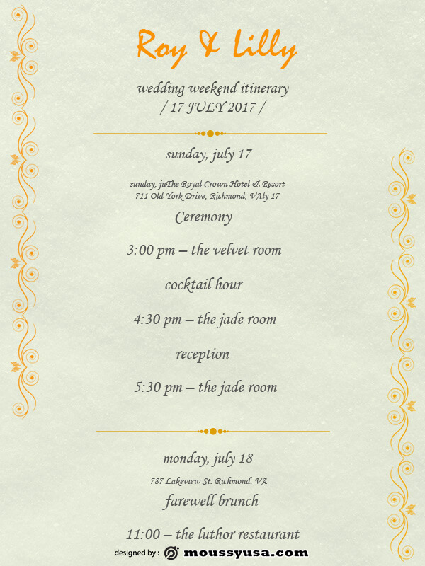 wedding itinerary template for photoshop
