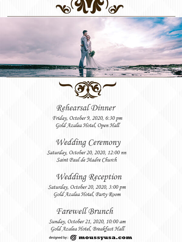 wedding itinerary template free psd