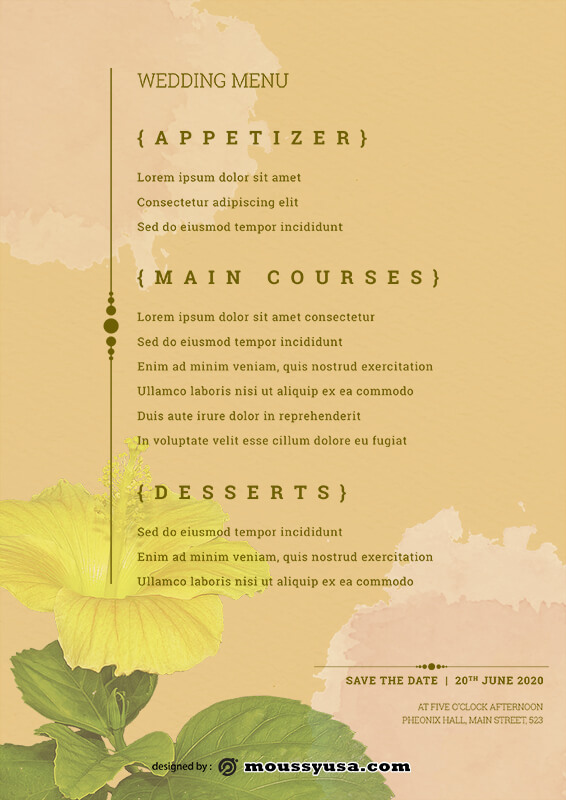 wedding menu customizable psd design template