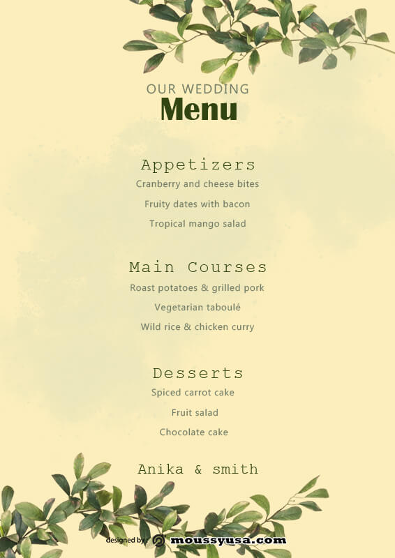 wedding menu free download psd