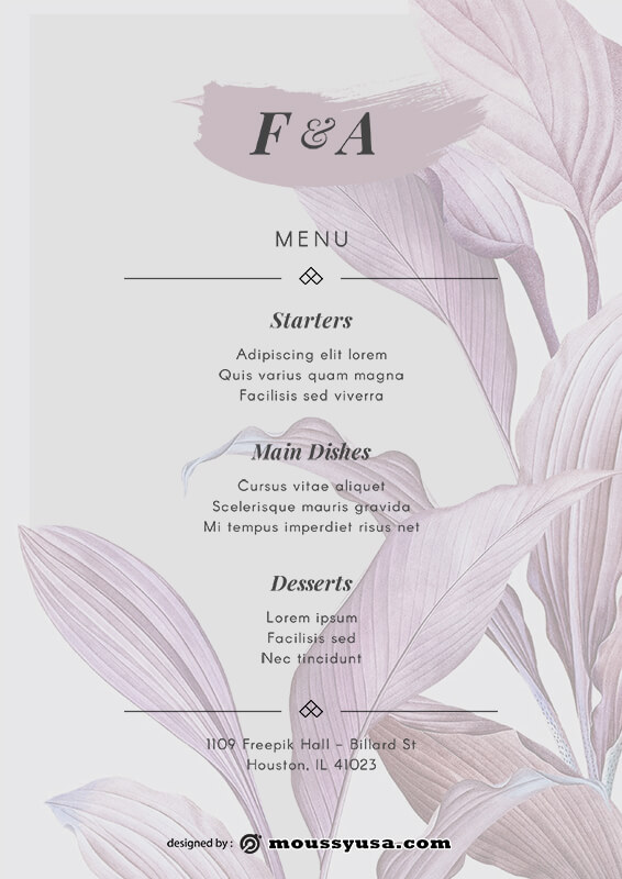 wedding menu free psd template