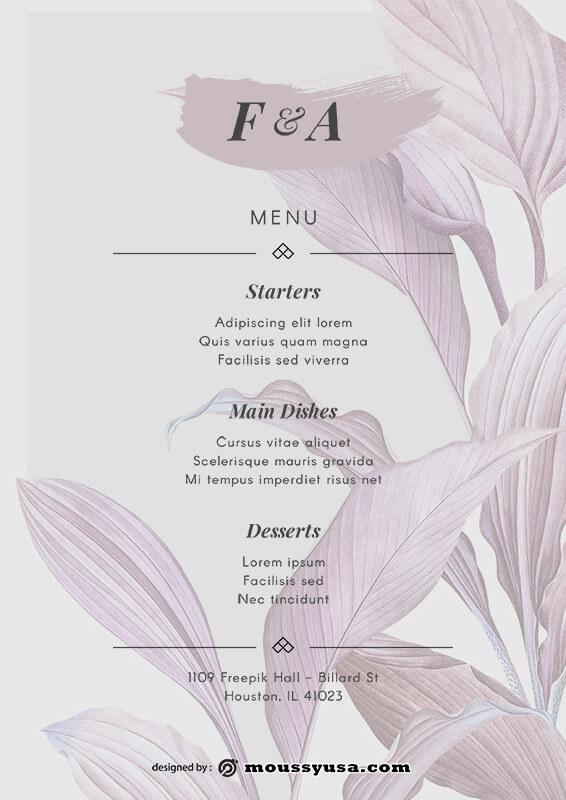 wedding menu free psd template