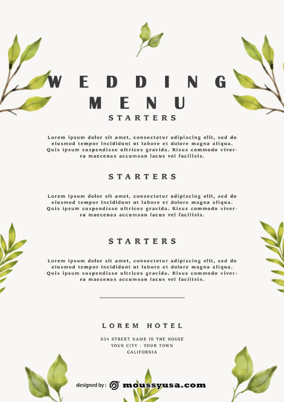 wedding menu in photoshop free download