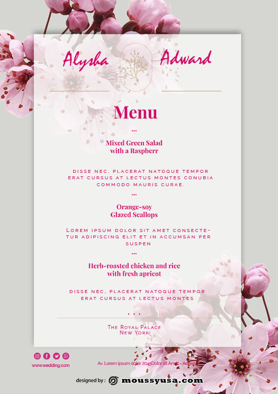wedding menu in photoshop