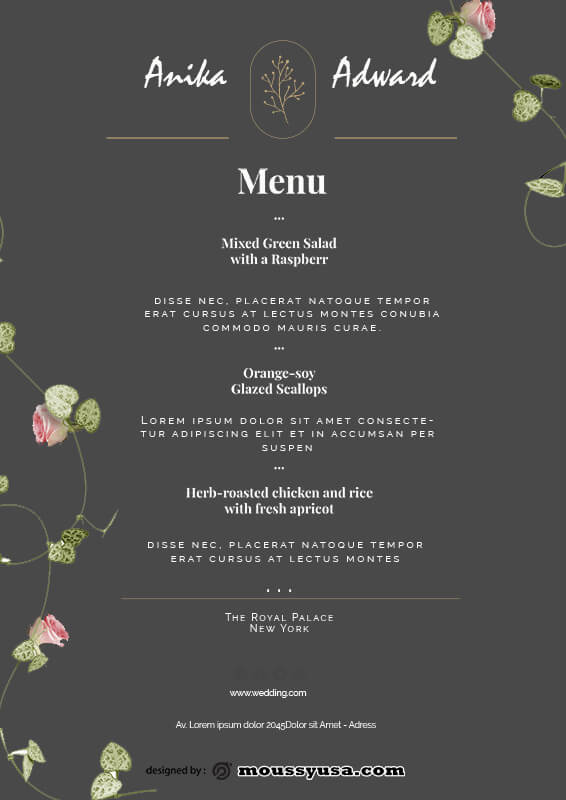 wedding menu in psd design