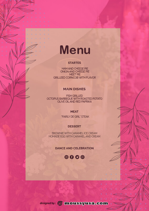 wedding menu psd template free