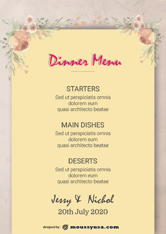 wedding menu template for photoshop