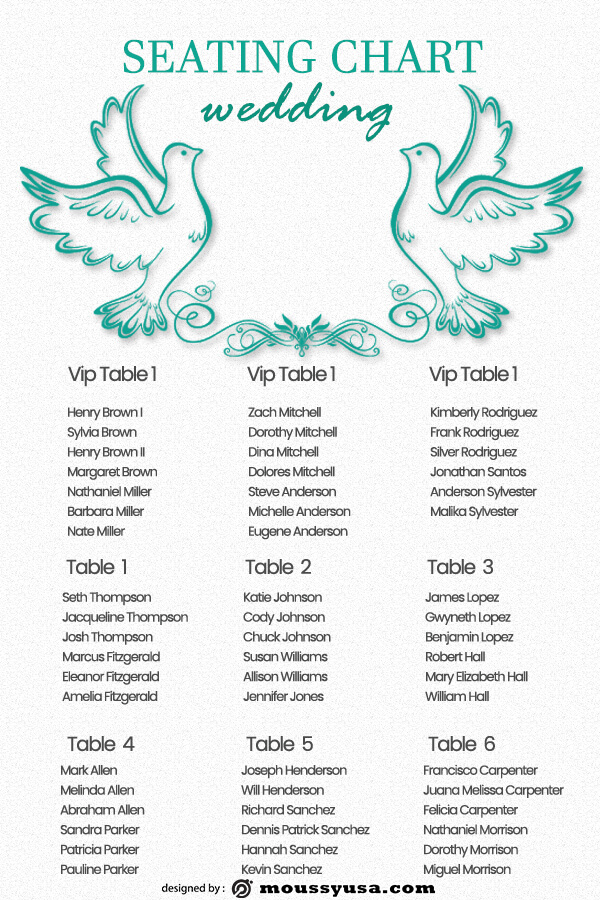 wedding seating chart free psd template