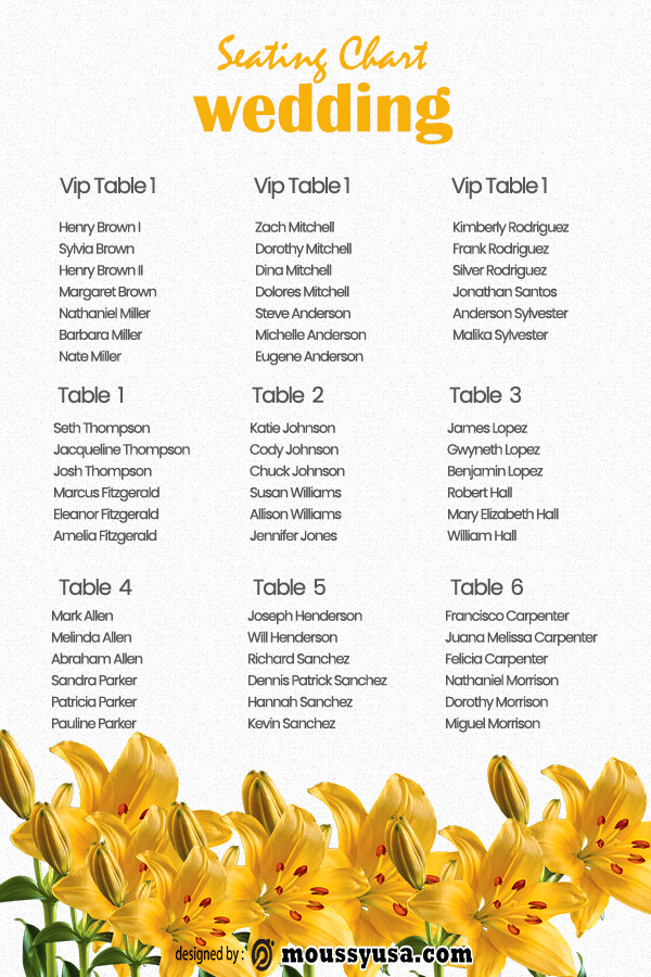 wedding seating chart in photoshop