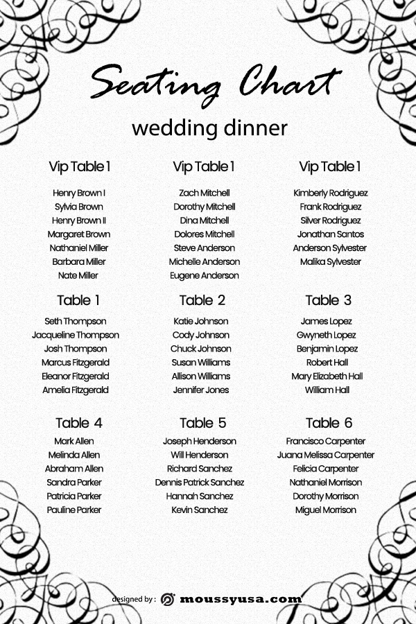 wedding seating chart psd template free