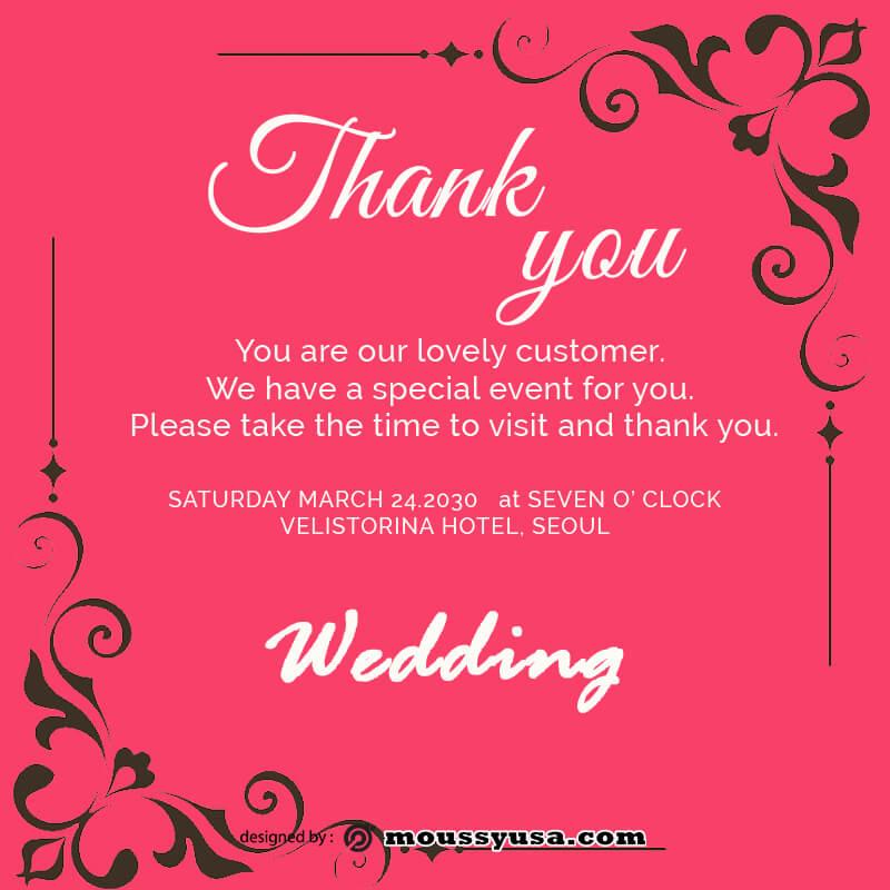 wedding thank you card customizable psd design template