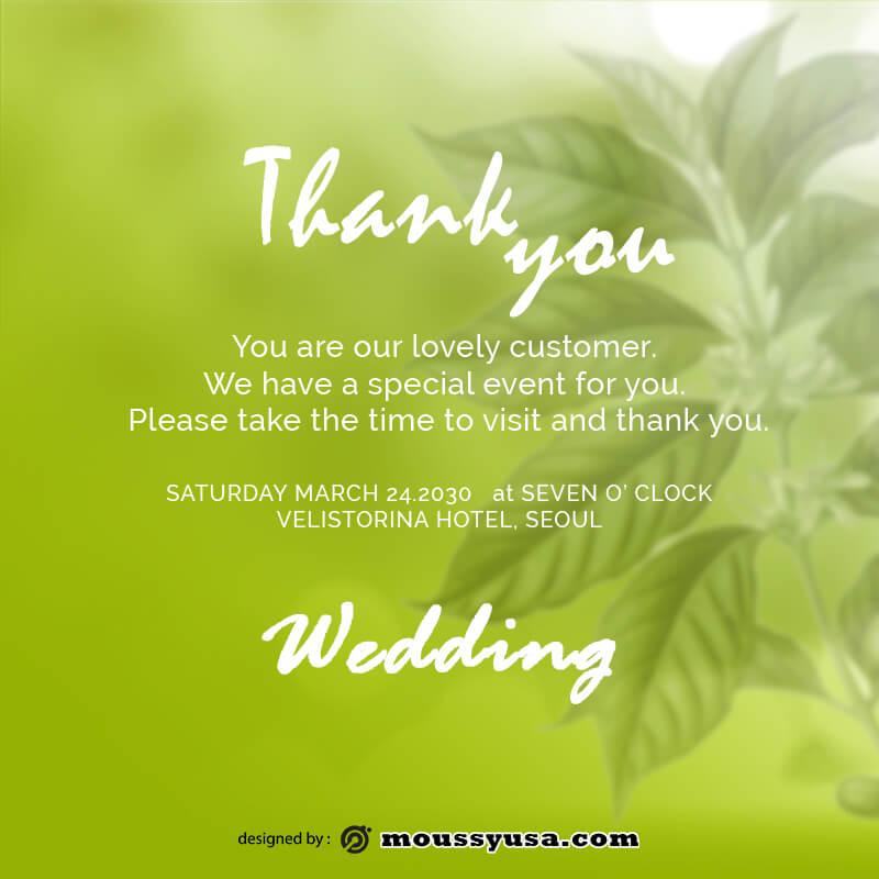 wedding thank you card example psd design