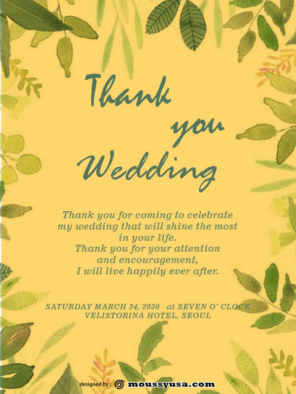 wedding thank you card free download psd