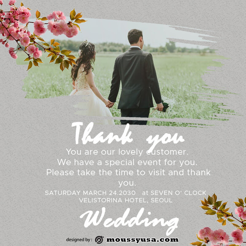wedding thank you card in psd design