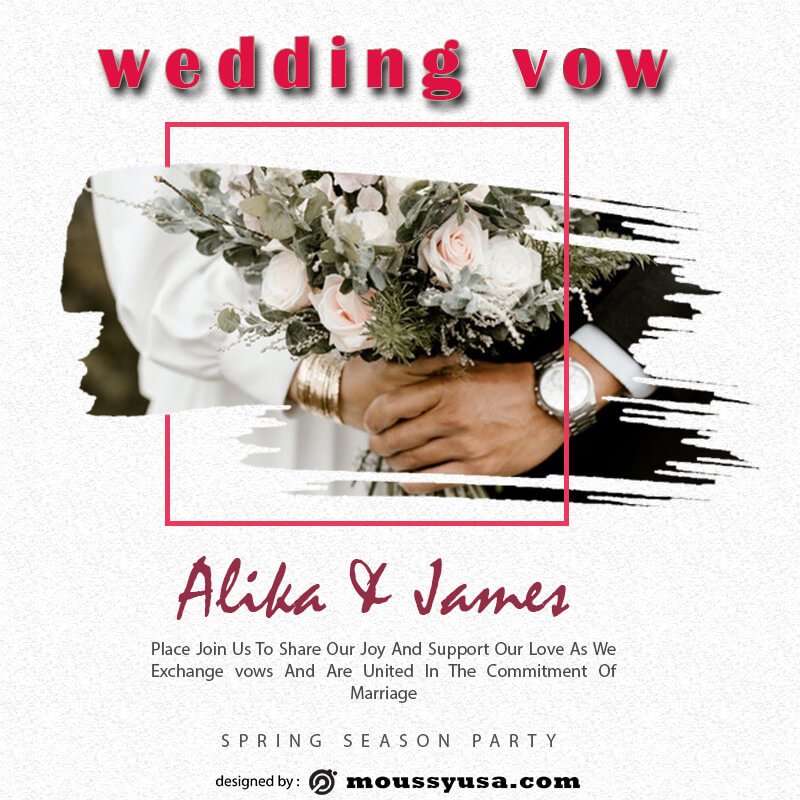wedding vow customizable psd design template
