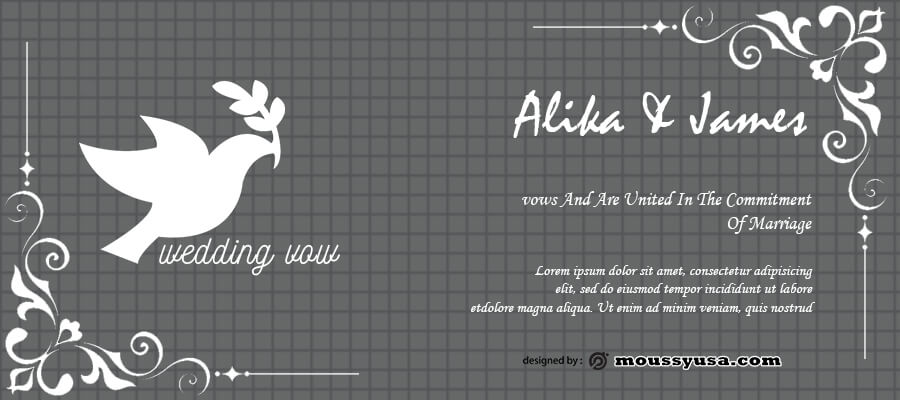 wedding vow in psd design