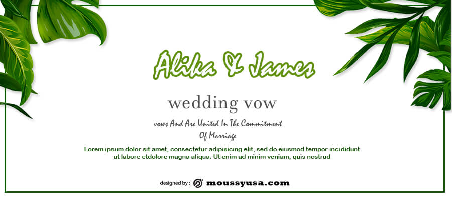 wedding vow template free psd