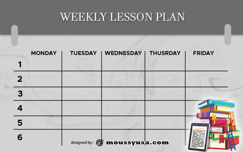 weekly lesson plan customizable psd design template