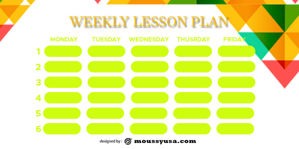 weekly lesson plan free download psd