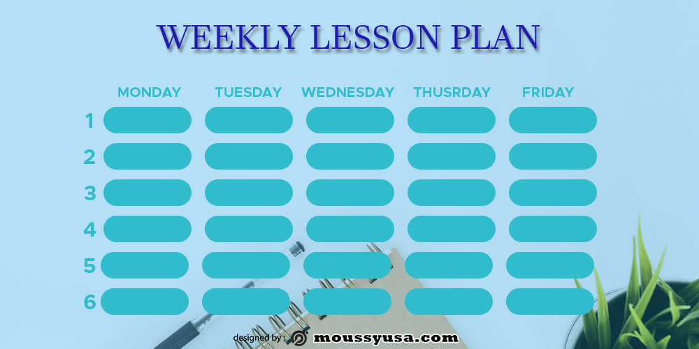 weekly lesson plan psd template free