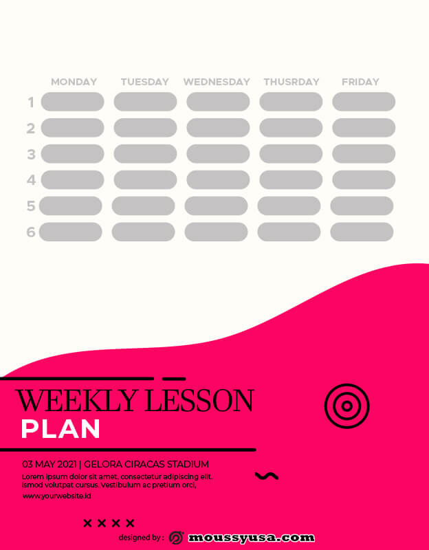 weekly lesson plan template for photoshop