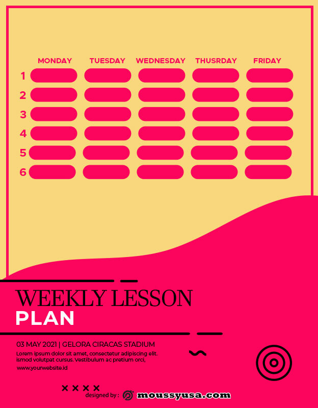 weekly lesson plan template free psd