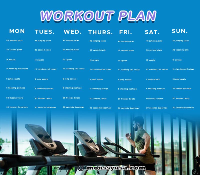 workout plan customizable psd design template