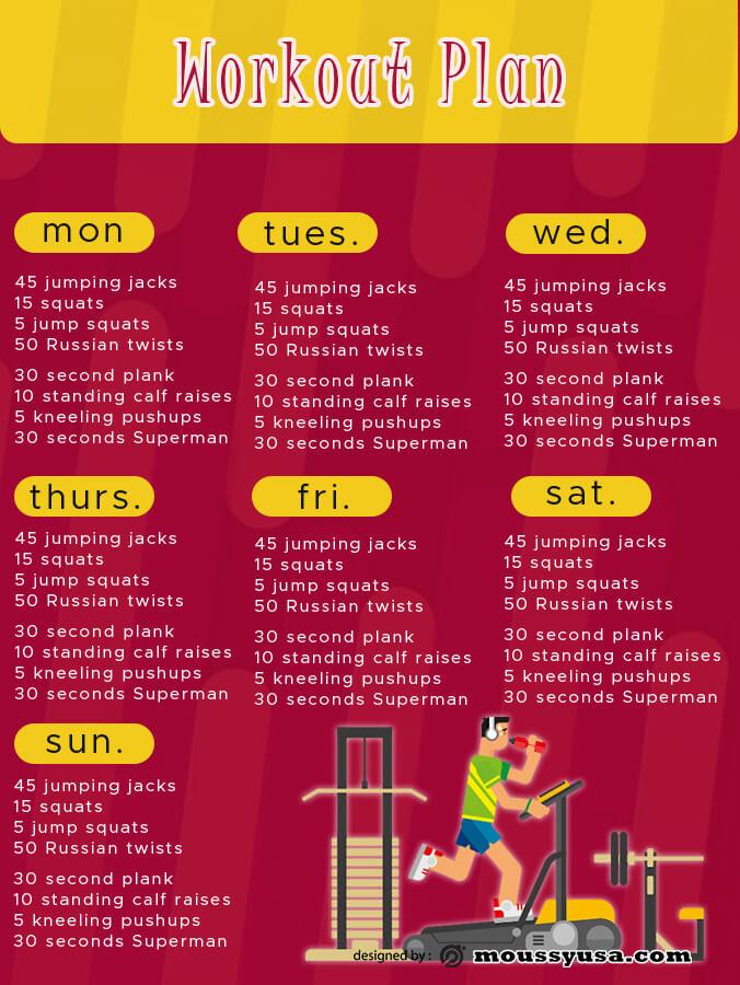 workout plan example psd design