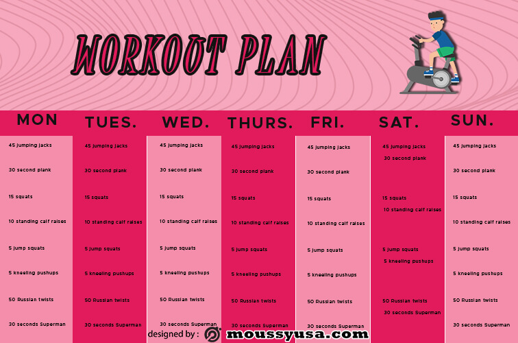 workout plan free psd template