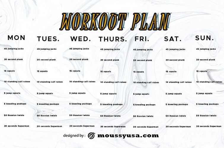 workout plan in photoshop free download