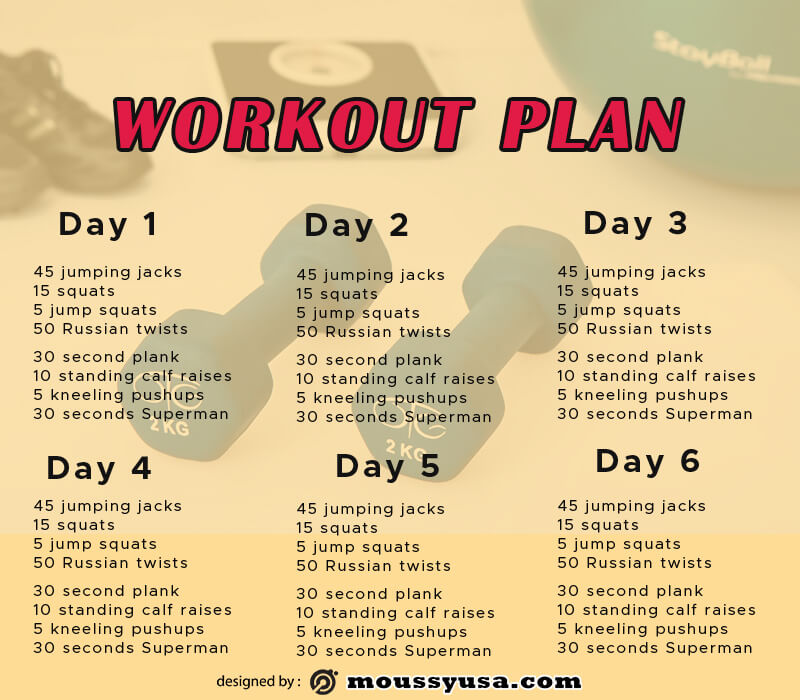 workout plan in photoshop