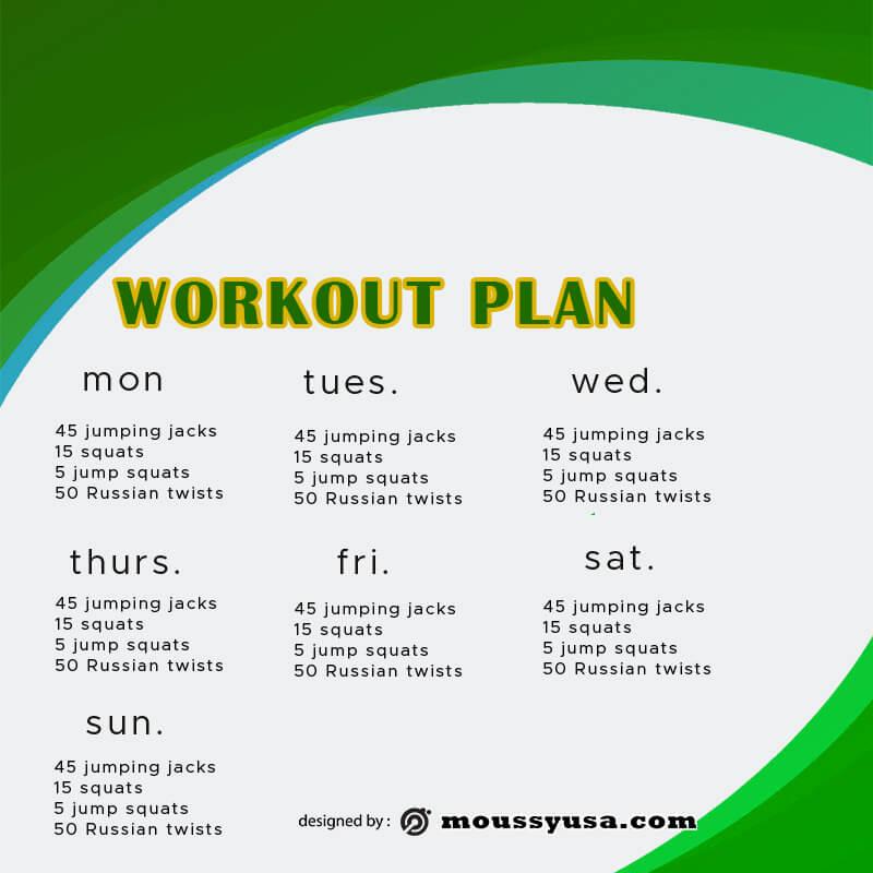 workout plan in psd design