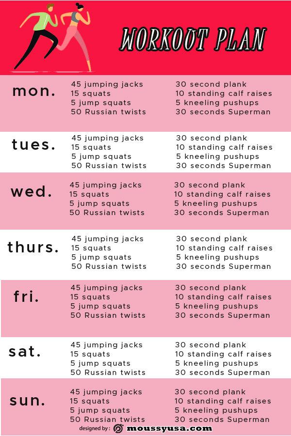 workout plan psd template free