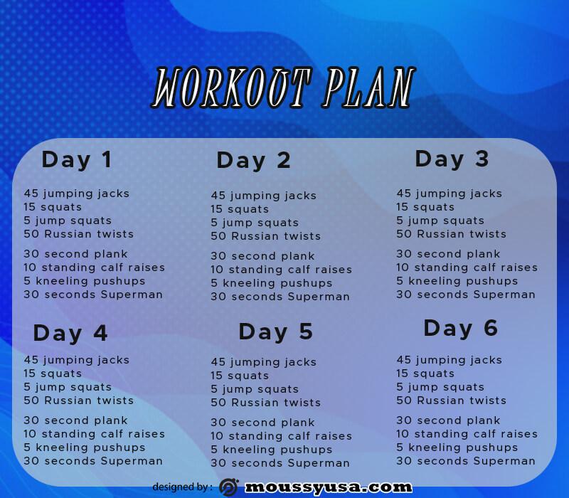 workout plan template free psd