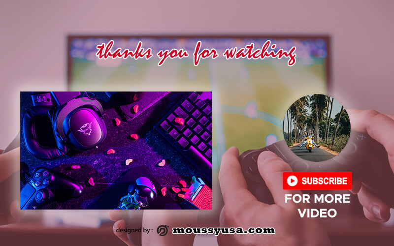 youtube end screen customizable psd design template