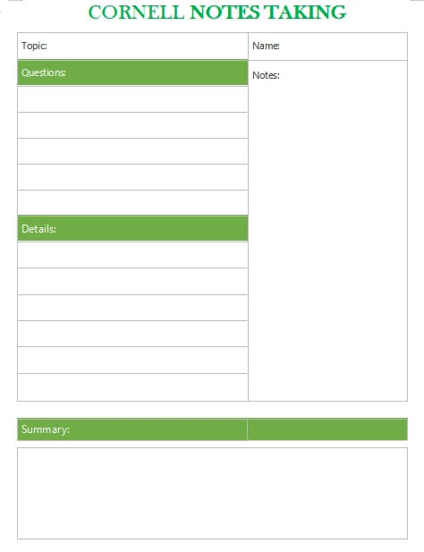 Cornell Note customizable word design template