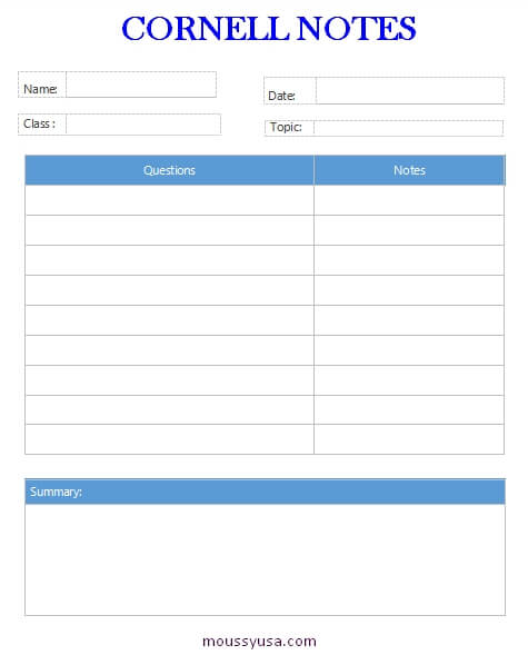 Cornell Note in word
