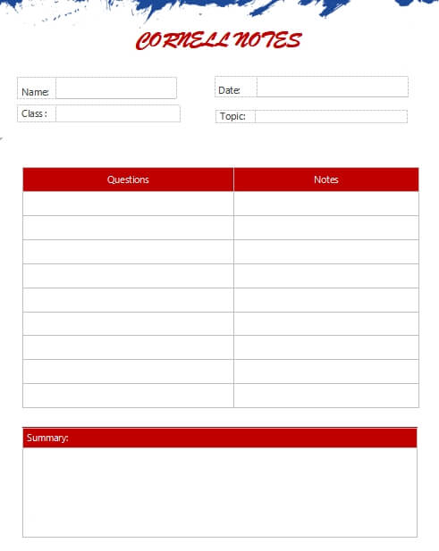 Cornell Note template free word