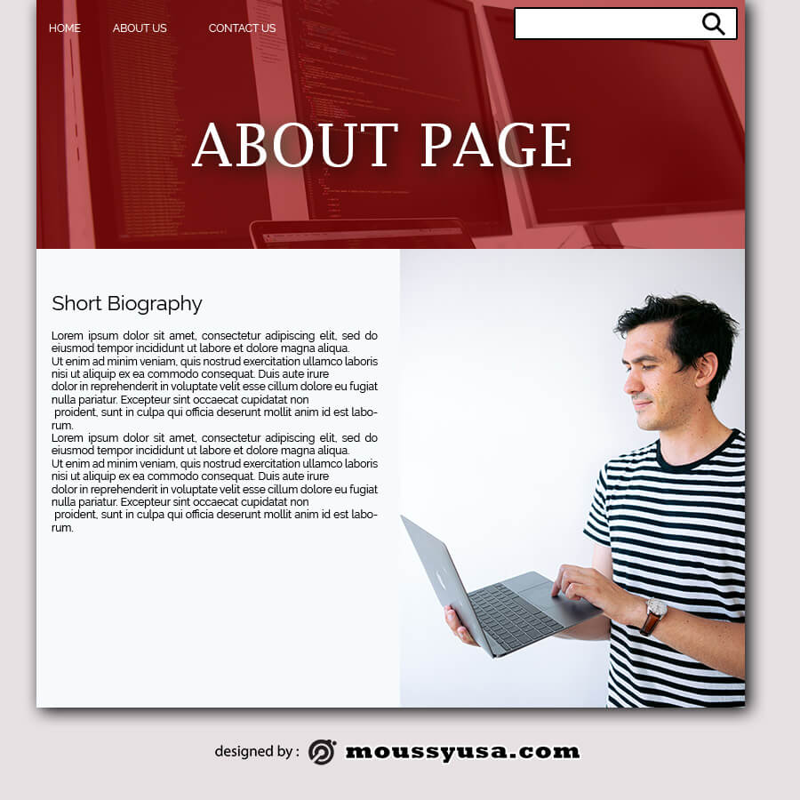 about page example psd design